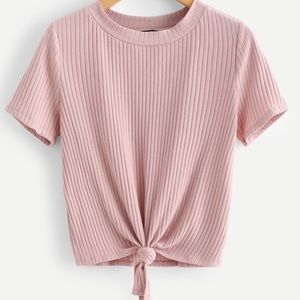 Ribbed Crop Top Knotted Hem Tee